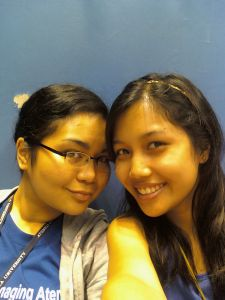 Bea and I (the non-photographers) waiting for the ADMU-UP Game to start